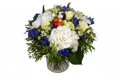 Luxury Hand Tied Elegant White And Blue Bouquet Flowerstalk Of London