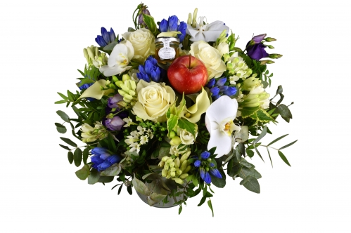 Luxury White And Blue Hand Tied Bouquet Flowerstalk Of London